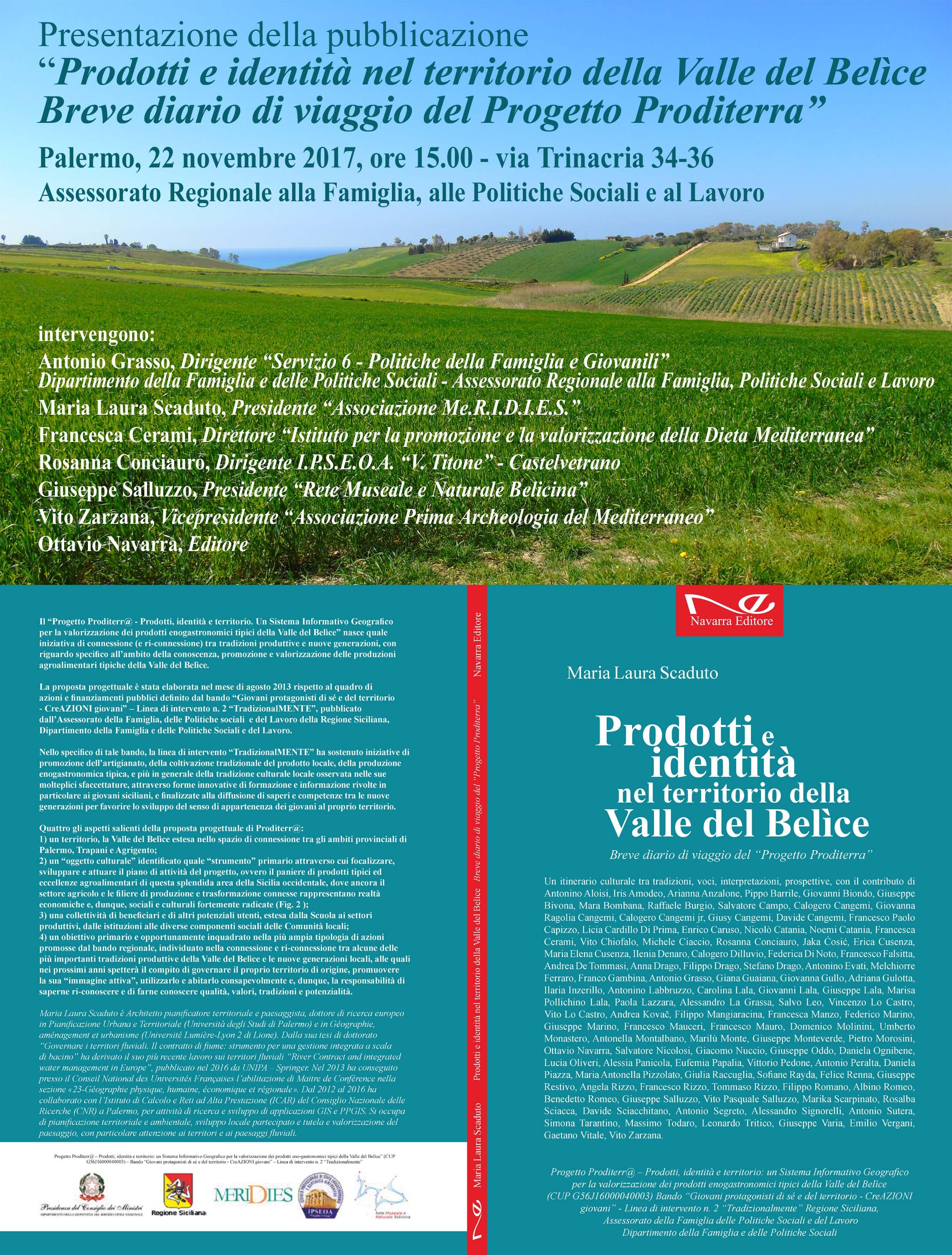 Presentazione della pubblicazione finale del Progetto Proditerra, Palermo 22.11.2017
