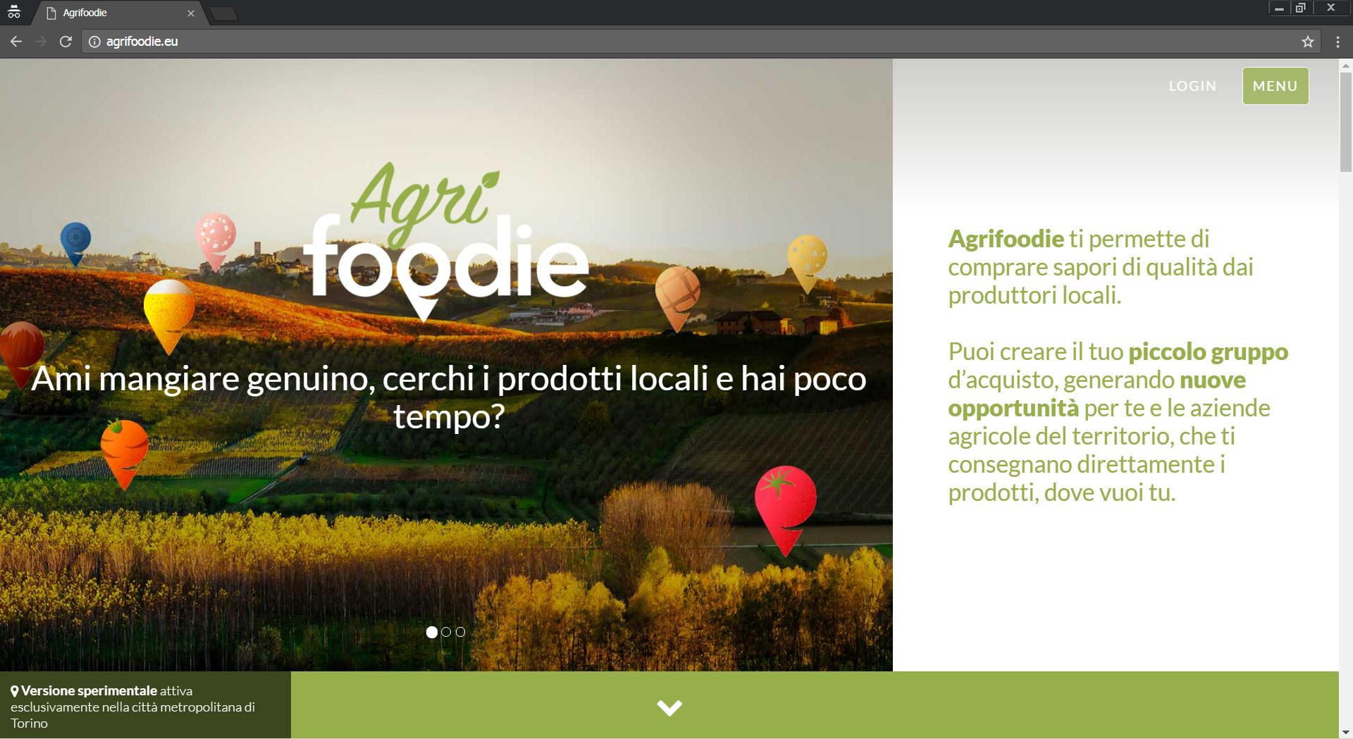 Home page del progetto e della piattaforma Agrifoodie.eu