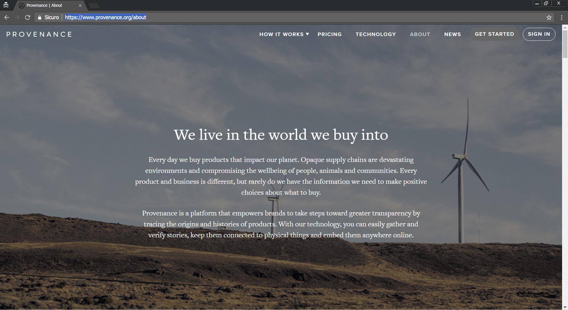 Pagina informativa della piattaforma web Provenance.com