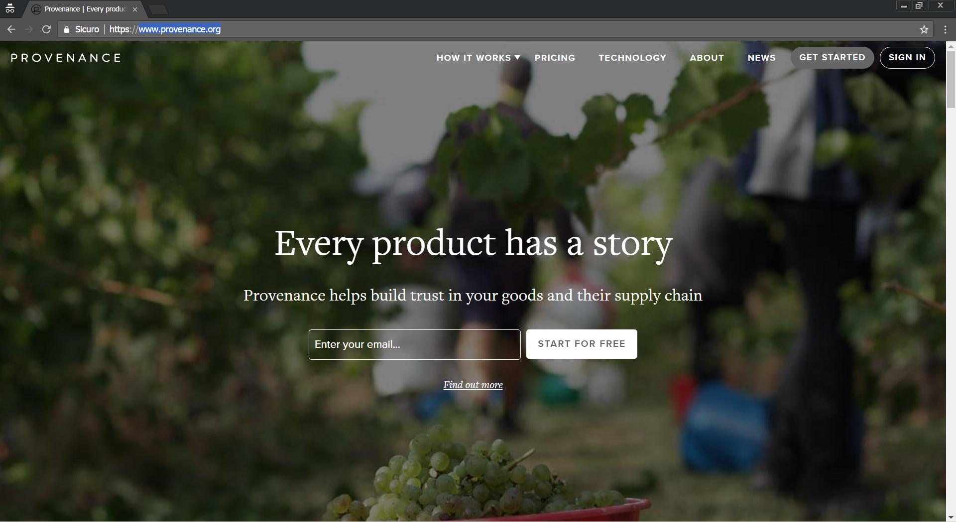 Home page della piattaforma web Provenance.com